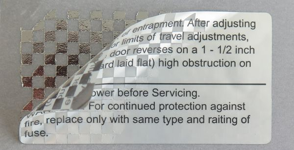 Security labels made of VOID film with opening detection